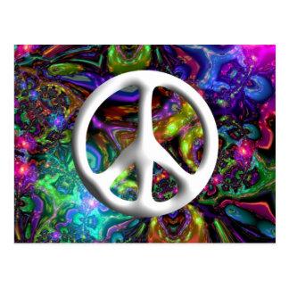 Cartão Postal Chique psicadélico do hippy do sinal de paz 60s