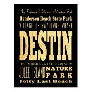 Cartão Postal Cidade de Destin da arte da tipografia de Florida