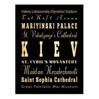 Cartão Postal Cidade de Kiev da arte da tipografia de Ucrânia