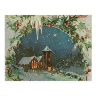 Cartão Postal Cidade do natal vintage com crianças