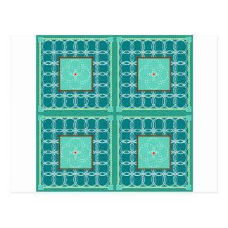 Cartão Postal Círculos na edredão verde
