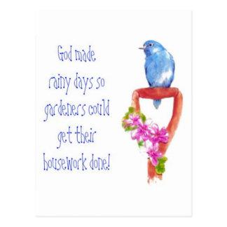 Cartão Postal Citações de jardinagem engraçadas, Bluebird