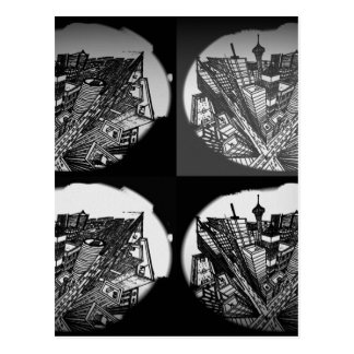Cartão Postal city 3 point perspective black & white
