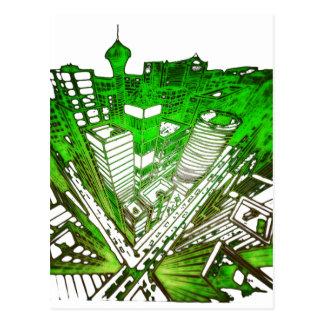 Cartão Postal city em 3 point version perspective special green