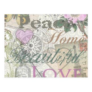 Cartão Postal Colagem bonita do desenhista do amor da casa da