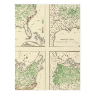 Cartão Postal Colheitas, litografia estatística dos E.U.