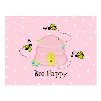Cartão Postal Colmeia cor-de-rosa - abelha feliz