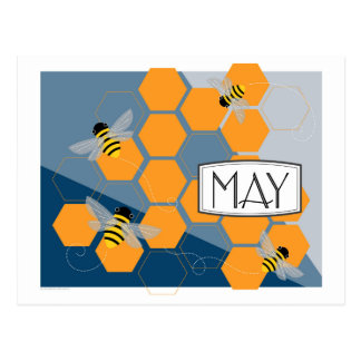 Cartão Postal Colmeia do primavera do art deco de maio