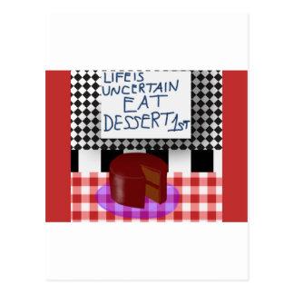 Cartão Postal Coma a sobremesa primeira