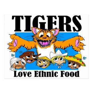 Cartão Postal Comida étnica do amor dos tigres