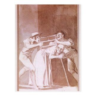 Cartão Postal Compartilhando da mulher adulta por Francisco Goya