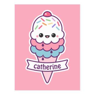 Cartão Postal Cone cor-de-rosa do sorvete de Kawaii