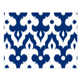 Cartão Postal Cor damasco, azuis cobaltos & branco de Ikat do