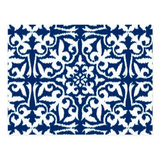 Cartão Postal Cor damasco de Ikat - azuis cobaltos e branco