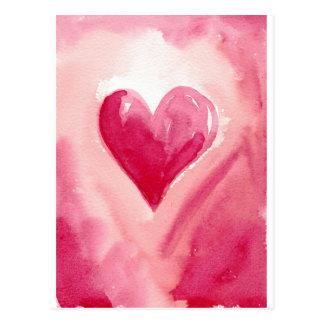 Cartão Postal Coração cor-de-rosa