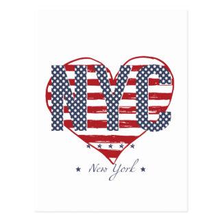 Cartão Postal Coração da bandeira americana de NYC