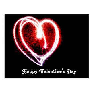 Cartão Postal Coração na moda romântico do dia dos namorados da