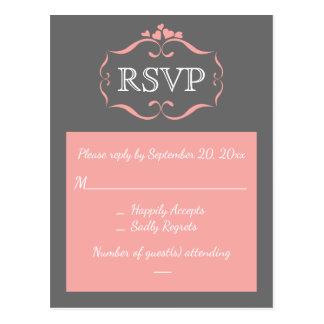 Cartão Postal Corações cor-de-rosa & cinzentos de RSVP do