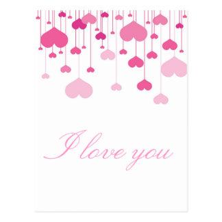 Cartão Postal Corações cor-de-rosa do feliz dia dos namorados