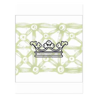 Cartão Postal Coroa no teste padrão do fundo