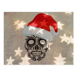 Cartão Postal Crânio do Natal com bokeh da estrela