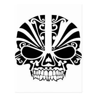 Cartão Postal Crânio maori da máscara do tatuagem