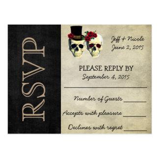 Cartão Postal Crânios do açúcar dos noivos que Wedding RSVP