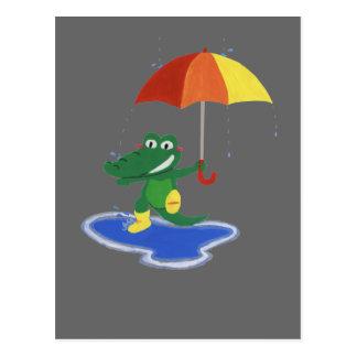 Cartão Postal Crocodilo bonito sob a chuva