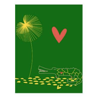 Cartão Postal Crocodilo minimalista com coração e a flor amarela