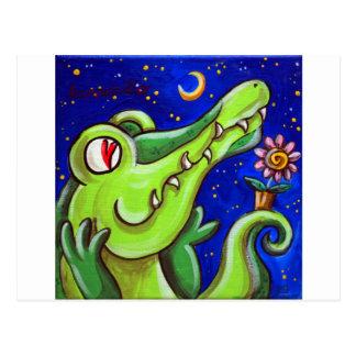 Cartão Postal Crocodilo no amor com a lua