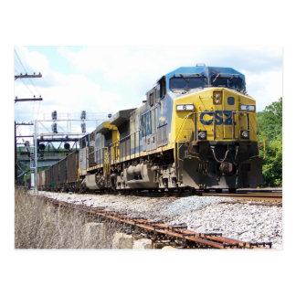 Cartão Postal CSX Railroad AC4400CW #6 com um trem de carvão