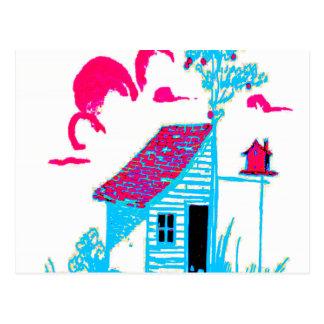 Cartão Postal Cultive a cena com vertente, árvore, e birdhouse