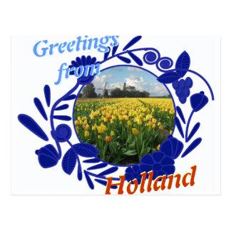 Cartão Postal Cumprimentos das tulipas do teste padrão de