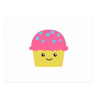 Cartão Postal Cupcake bonito de Kawaii