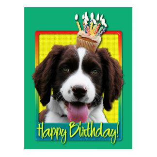 Cartão Postal Cupcake do aniversário - Spaniel de Springer