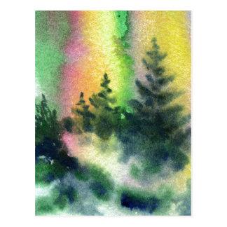 """Cartão Postal Da """"cartão das estradas secundárias aurora boreal"""