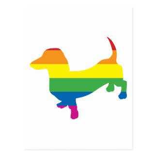 Cartão Postal Dachshund/Wiener do orgulho gay
