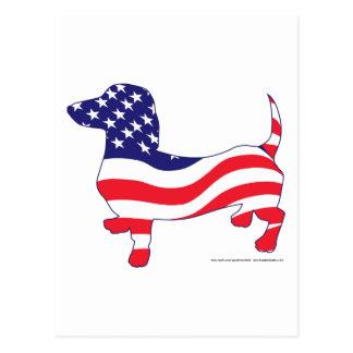 Cartão Postal Dachshund/Wiener patrióticos