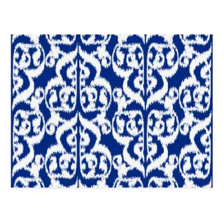 Cartão Postal Damasco do Moorish de Ikat - azuis cobaltos e