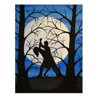 Cartão Postal Dançarinos românticos da silhueta