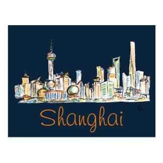 Cartão Postal Desenho da skyline de Shanghai