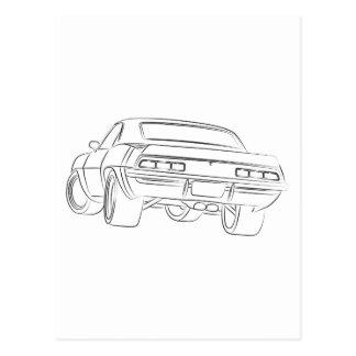 Cartão Postal Desenho do carro do músculo