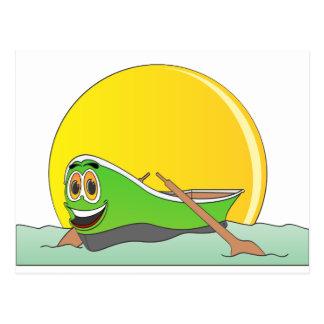 Cartão Postal Desenhos animados verdes do barco de fileira