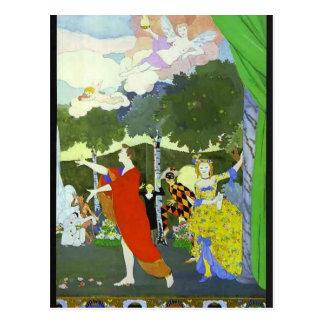 Cartão Postal Design da Somov-Cortina de Konstantin para