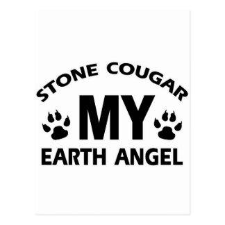 Cartão Postal design de pedra do gato do puma
