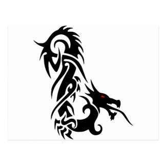 Cartão Postal Design preto do tatuagem do dragão