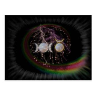 Cartão Postal Deusa tripla impressionante de Wiccan cósmica