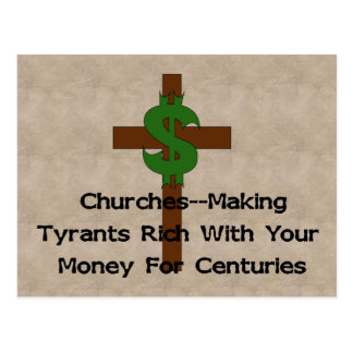Cartão Postal Dinheiro do coração das igrejas