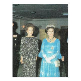 Cartão Postal Direitos, rainha e Nancy Reagan do vintage