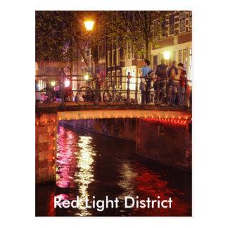 Cartão Postal Distrito de luzes vermelhas na noite